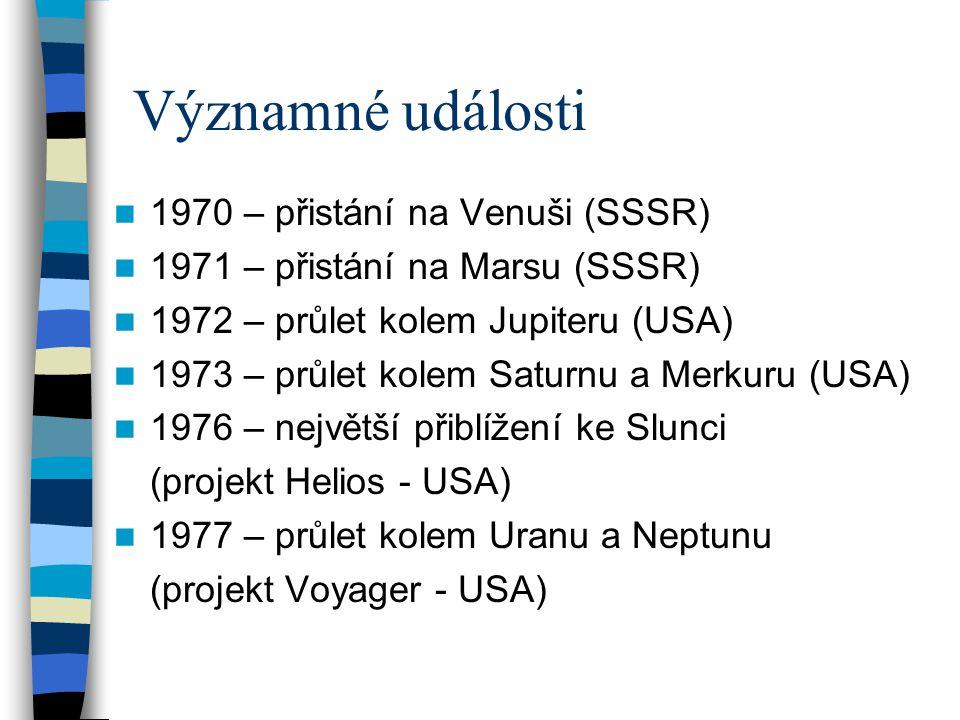 Významné události 1970 – přistání na Venuši (SSSR) 1971 – přistání na Marsu (SSSR) 1972 – průlet kolem Jupiteru (USA) 1973 – průlet kolem Saturnu a Me