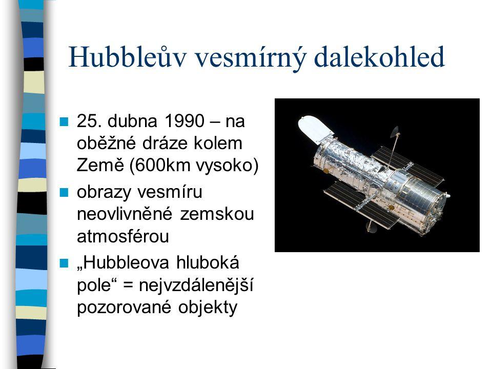 """Hubbleův vesmírný dalekohled 25. dubna 1990 – na oběžné dráze kolem Země (600km vysoko) obrazy vesmíru neovlivněné zemskou atmosférou """"Hubbleova hlubo"""