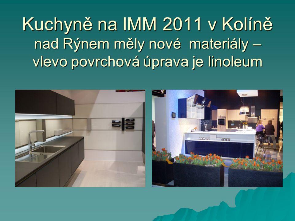 Kuchyně na IMM 2011 v Kolíně nad Rýnem měly nové materiály – vlevo povrchová úprava je linoleum