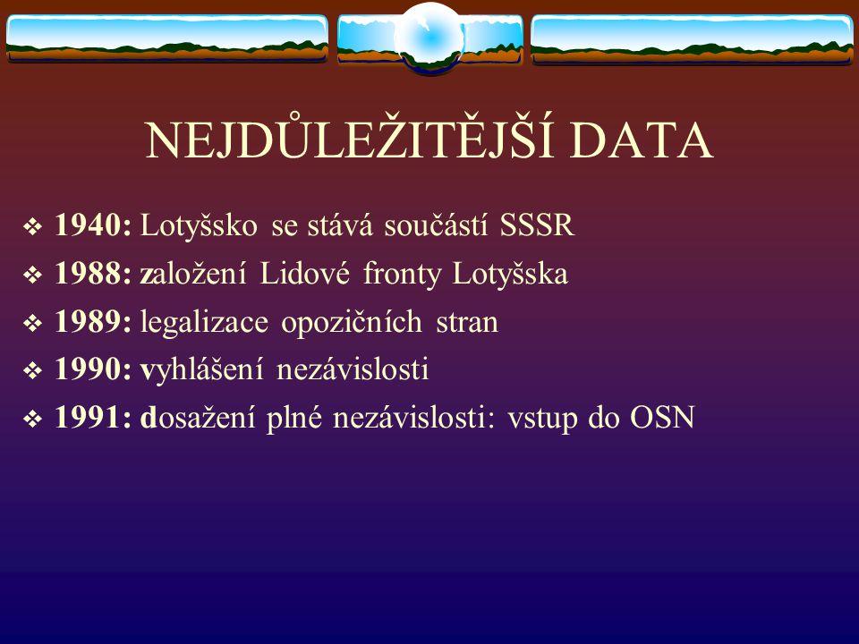 NEJDŮLEŽITĚJŠÍ DATA  1940: Lotyšsko se stává součástí SSSR  1988: založení Lidové fronty Lotyšska  1989: legalizace opozičních stran  1990: vyhláš