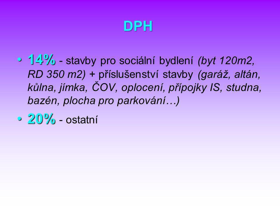 DPH 14%14% - stavby pro sociální bydlení (byt 120m2, RD 350 m2) + příslušenství stavby (garáž, altán, kůlna, jímka, ČOV, oplocení, přípojky IS, studna