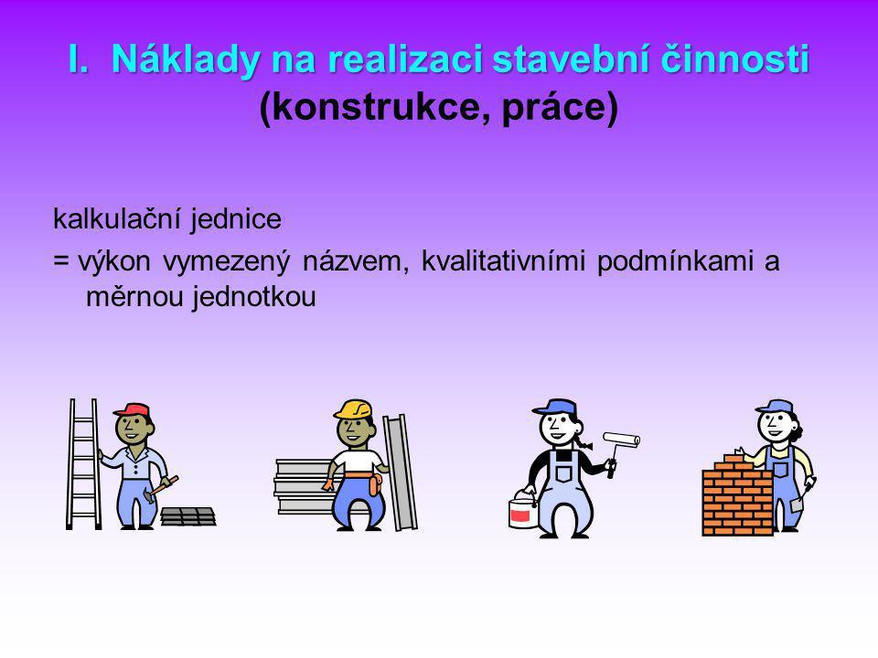 I. Náklady na realizaci stavební činnosti I. Náklady na realizaci stavební činnosti (konstrukce, práce) kalkulační jednice = výkon vymezený názvem, kv
