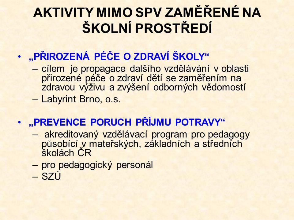 """""""PŘIROZENÁ PÉČE O ZDRAVÍ ŠKOLY –cílem je propagace dalšího vzdělávání v oblasti přirozené péče o zdraví dětí se zaměřením na zdravou výživu a zvýšení odborných vědomostí –Labyrint Brno, o.s."""
