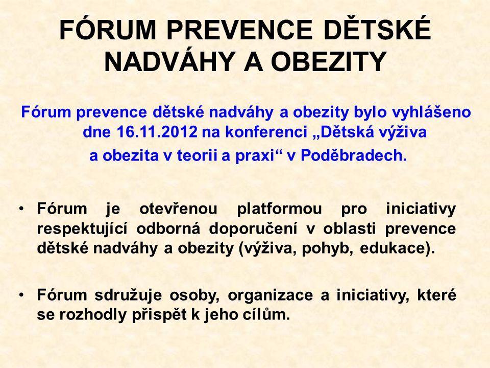 """FÓRUM PREVENCE DĚTSKÉ NADVÁHY A OBEZITY Fórum prevence dětské nadváhy a obezity bylo vyhlášeno dne 16.11.2012 na konferenci """"Dětská výživa a obezita v teorii a praxi v Poděbradech."""