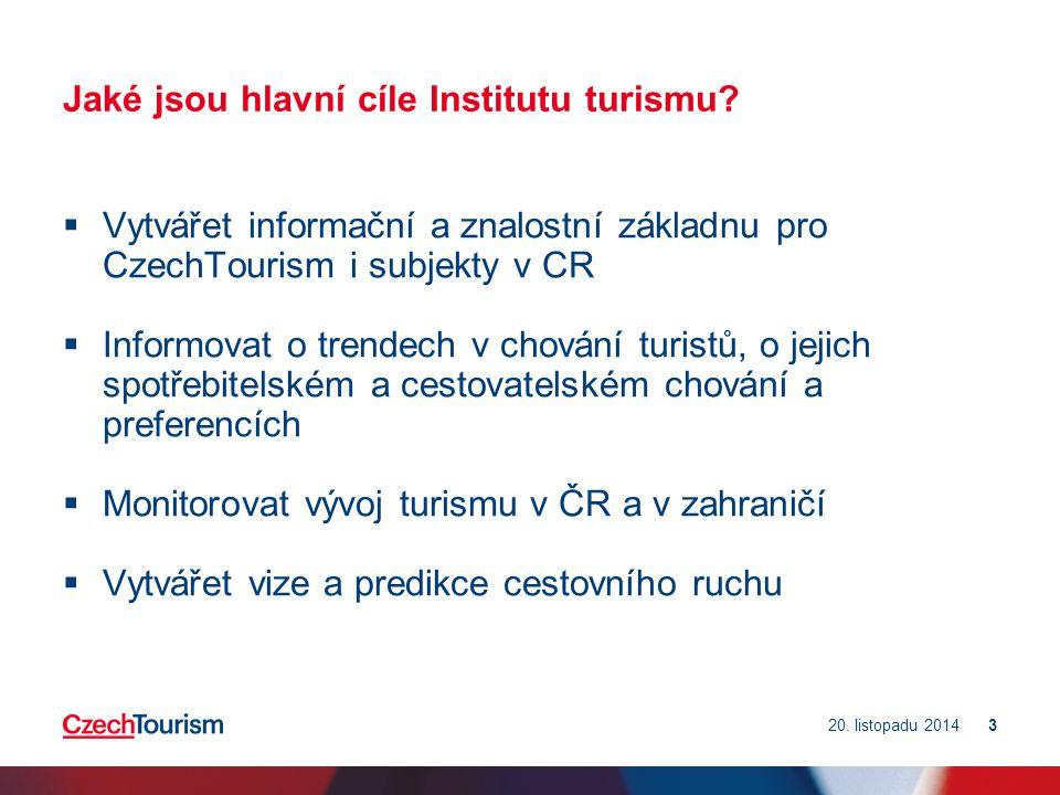 Jaké jsou hlavní cíle Institutu turismu.