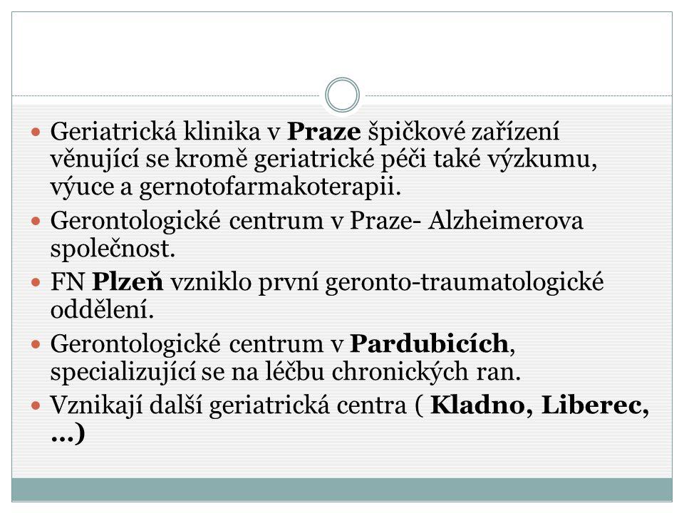 Geriatrická klinika v Praze špičkové zařízení věnující se kromě geriatrické péči také výzkumu, výuce a gernotofarmakoterapii. Gerontologické centrum v