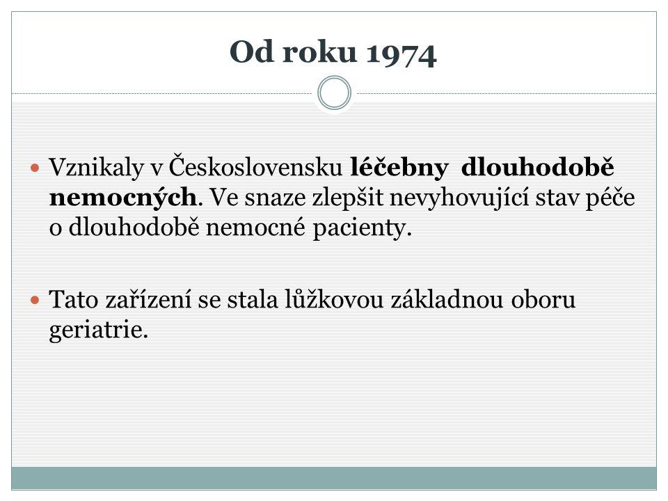 Od roku 1974 Vznikaly v Československu léčebny dlouhodobě nemocných. Ve snaze zlepšit nevyhovující stav péče o dlouhodobě nemocné pacienty. Tato zaříz