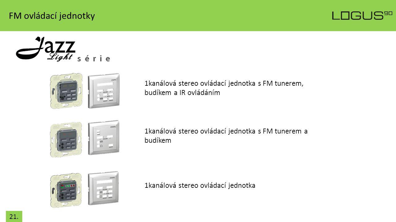 FM ovládací jednotky 1kanálová stereo ovládací jednotka s FM tunerem, budíkem a IR ovládáním 1kanálová stereo ovládací jednotka s FM tunerem a budíkem