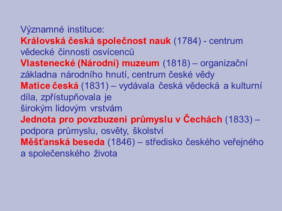 Významné instituce: Královská česká společnost nauk (1784) - centrum vědecké činnosti osvícenců Vlastenecké (Národní) muzeum (1818) – organizační zákl