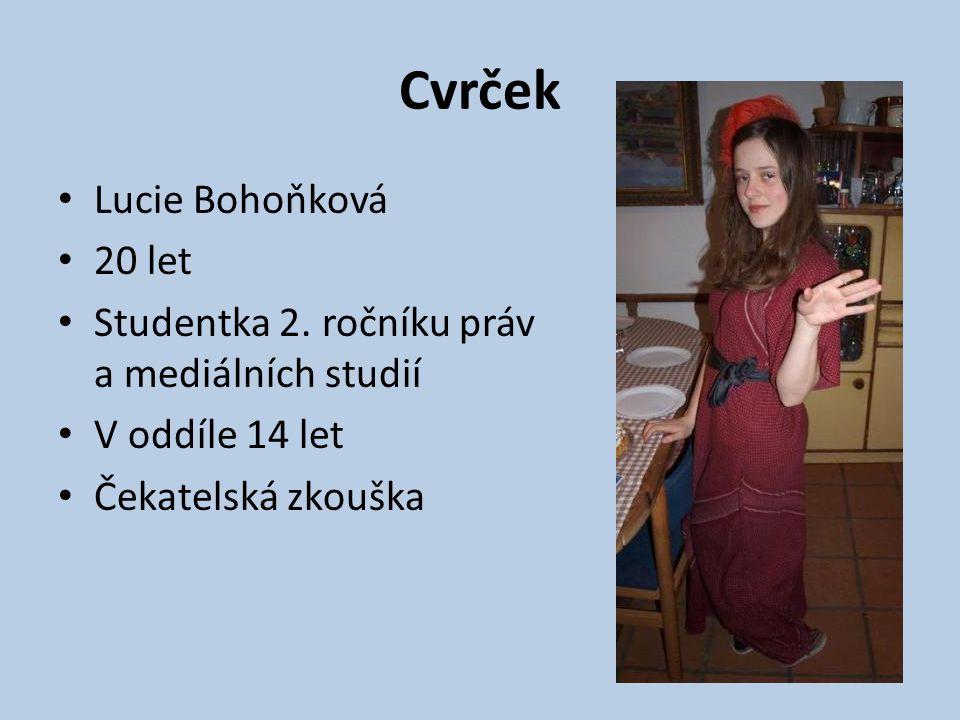 Cvrček Lucie Bohoňková 20 let Studentka 2. ročníku práv a mediálních studií V oddíle 14 let Čekatelská zkouška