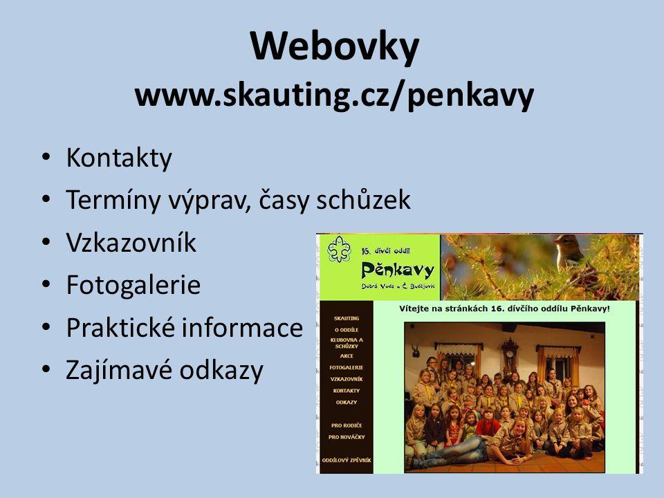 Webovky www.skauting.cz/penkavy Kontakty Termíny výprav, časy schůzek Vzkazovník Fotogalerie Praktické informace Zajímavé odkazy