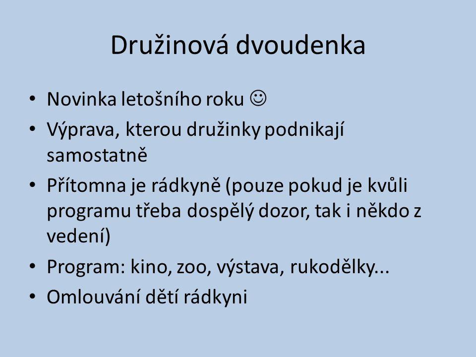 Družinová dvoudenka Novinka letošního roku Výprava, kterou družinky podnikají samostatně Přítomna je rádkyně (pouze pokud je kvůli programu třeba dosp