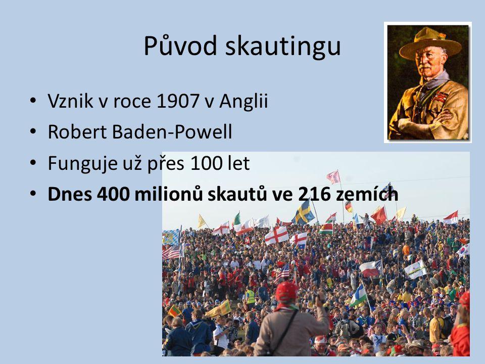 Původ skautingu Vznik v roce 1907 v Anglii Robert Baden-Powell Funguje už přes 100 let Dnes 400 milionů skautů ve 216 zemích