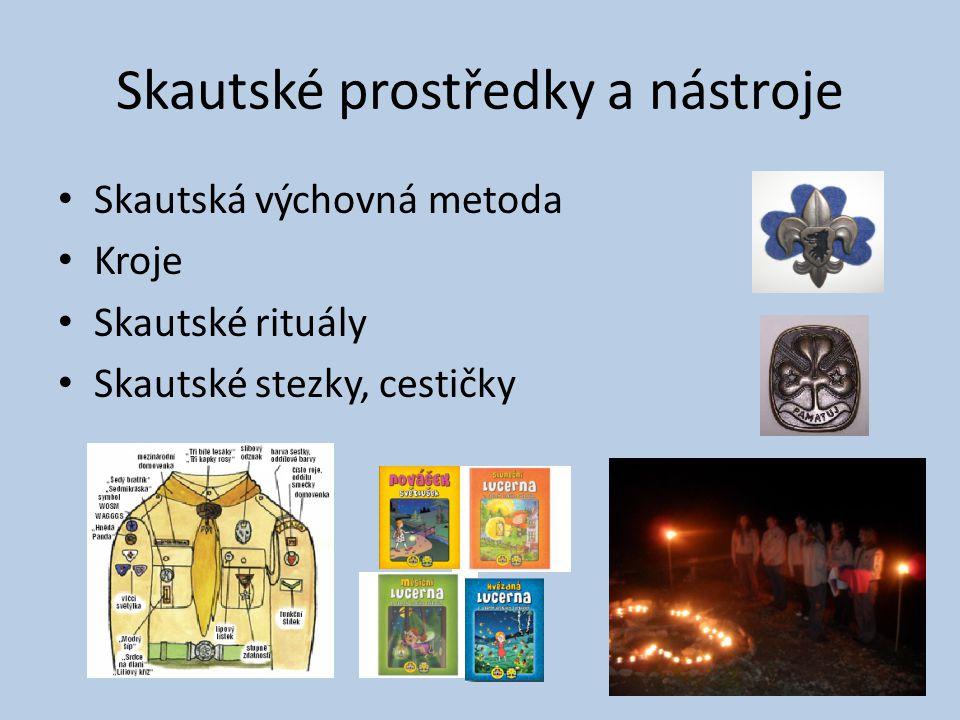 Skautské prostředky a nástroje Skautská výchovná metoda Kroje Skautské rituály Skautské stezky, cestičky