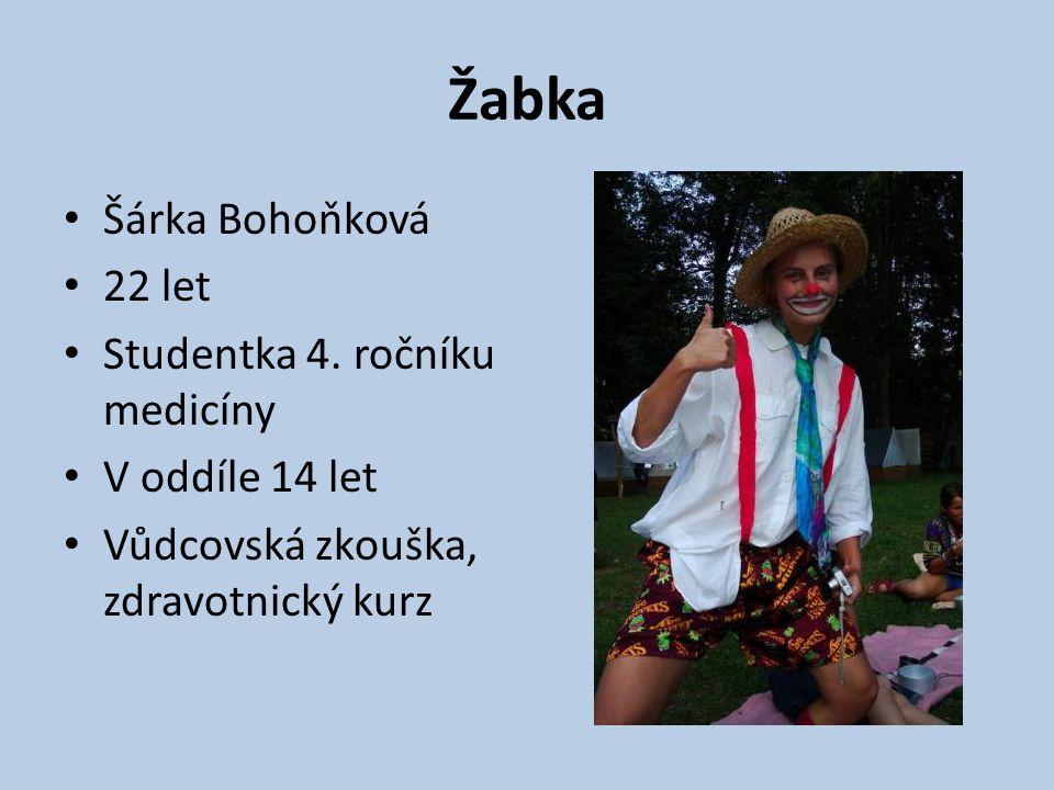 Žabka Šárka Bohoňková 22 let Studentka 4. ročníku medicíny V oddíle 14 let Vůdcovská zkouška, zdravotnický kurz