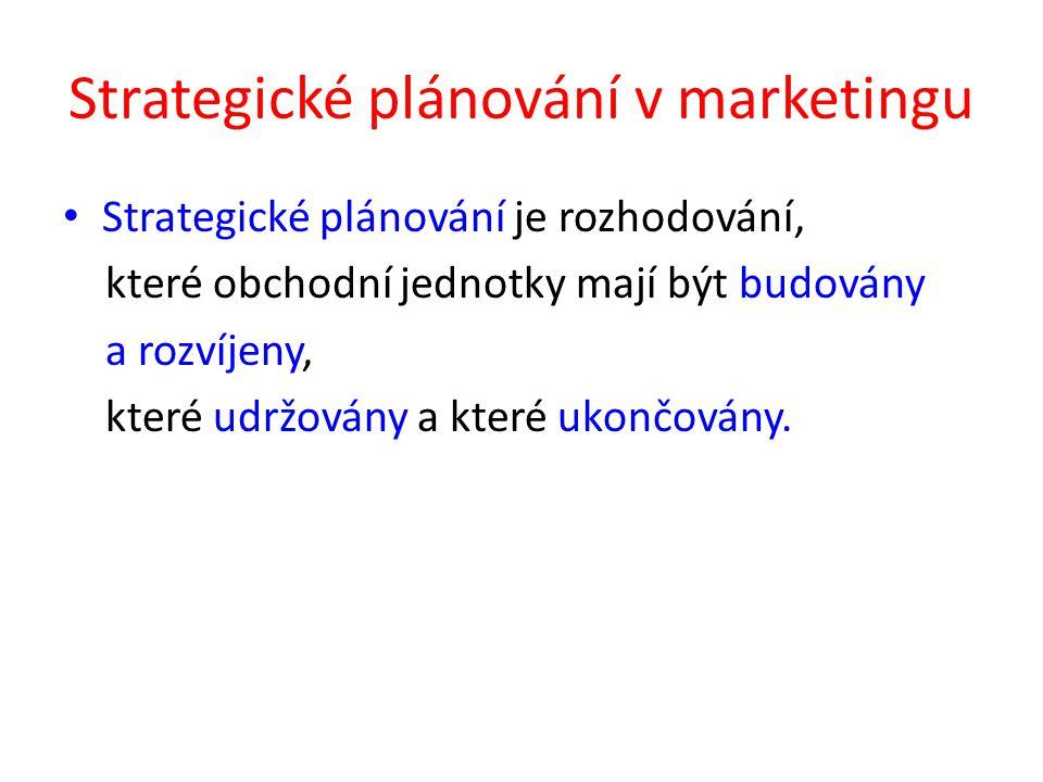 Strategické plánování v marketingu Strategické plánování je rozhodování, které obchodní jednotky mají být budovány a rozvíjeny, které udržovány a kter