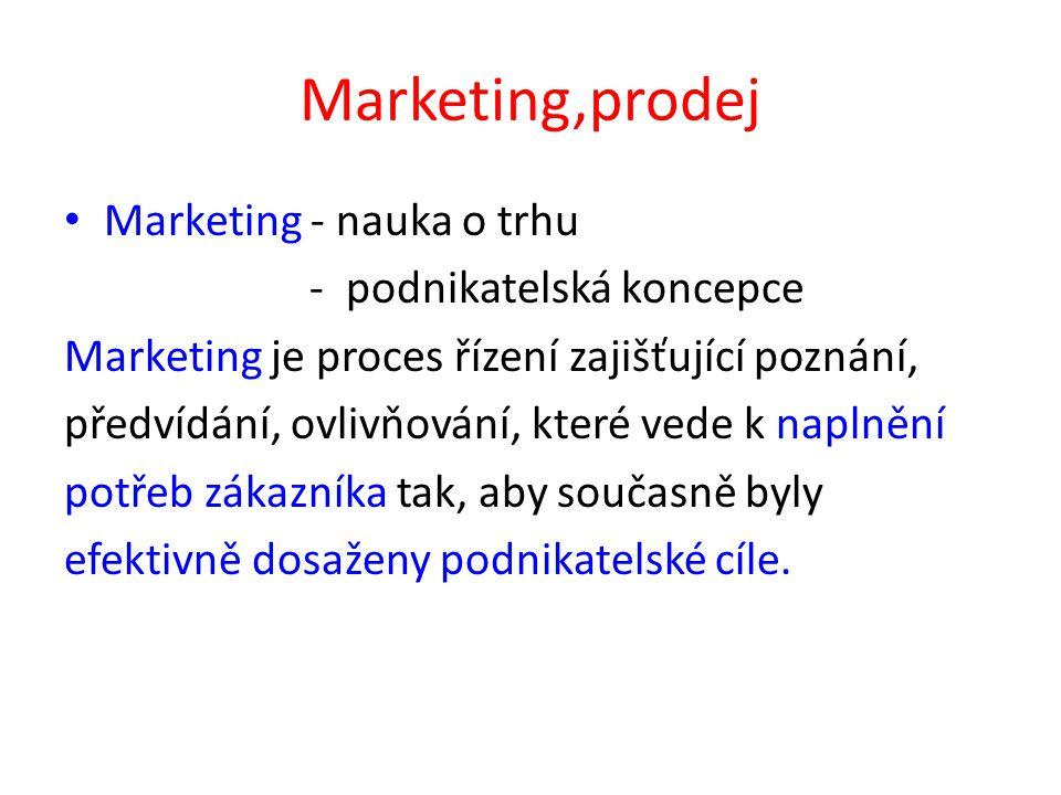 Marketing,prodej Marketing - nauka o trhu - podnikatelská koncepce Marketing je proces řízení zajišťující poznání, předvídání, ovlivňování, které vede