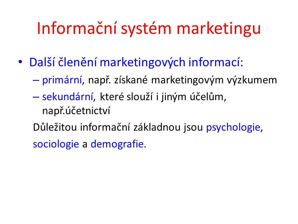 Informační systém marketingu Další členění marketingových informací: – primární, např. získané marketingovým výzkumem – sekundární, které slouží i jin