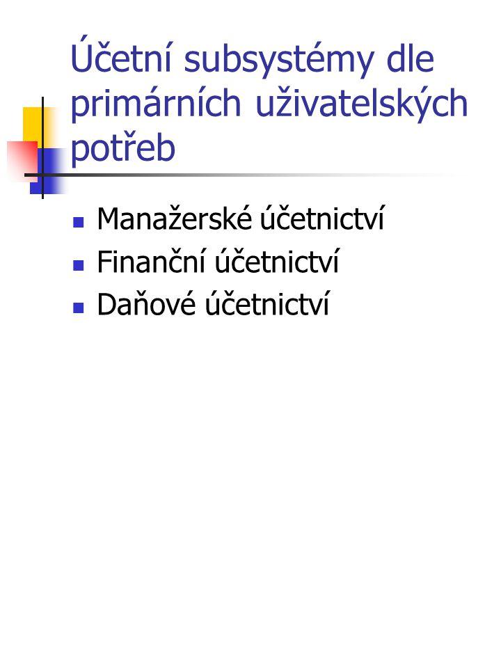 Účetní subsystémy dle primárních uživatelských potřeb Manažerské účetnictví Finanční účetnictví Daňové účetnictví