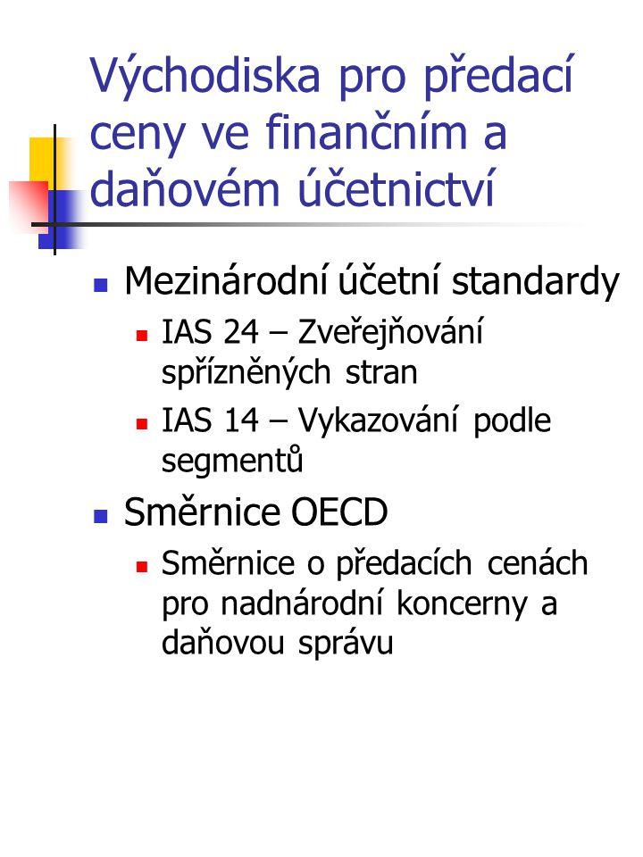 Východiska pro předací ceny ve finančním a daňovém účetnictví Mezinárodní účetní standardy IAS 24 – Zveřejňování spřízněných stran IAS 14 – Vykazování