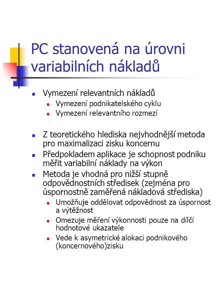Rozdělení metod na univerzální a specifické Účetní subsystémUniverzální metody (nevyžadují duální systém) Specifické metody (vyžadují duální systém) Manažerské účetnictvíPC odvozená z tržní ceny PC stanovená na úrovni oportunitních nákladů Metoda přirážky k plným nákladům výkonu PC stanovená na úrovni variabilních nákladů PC stanovená na úrovni plných nákladů výkonu Dvousložková předací cena Daňové (finanční) účetnictví Metoda srovnatelné nezávislé ceny Metoda rozdělení zisku Metoda náklady plus přirážka Metoda srovnatelných poměrových ukazatelů