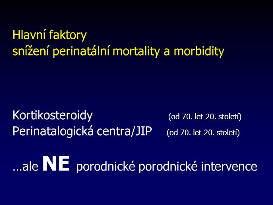 Hlavní faktory snížení perinatální mortality a morbidity Kortikosteroidy (od 70.