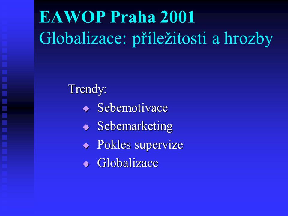 Trendy:  Sebemotivace  Sebemarketing  Pokles supervize  Globalizace EAWOP Praha 2001 Globalizace: příležitosti a hrozby