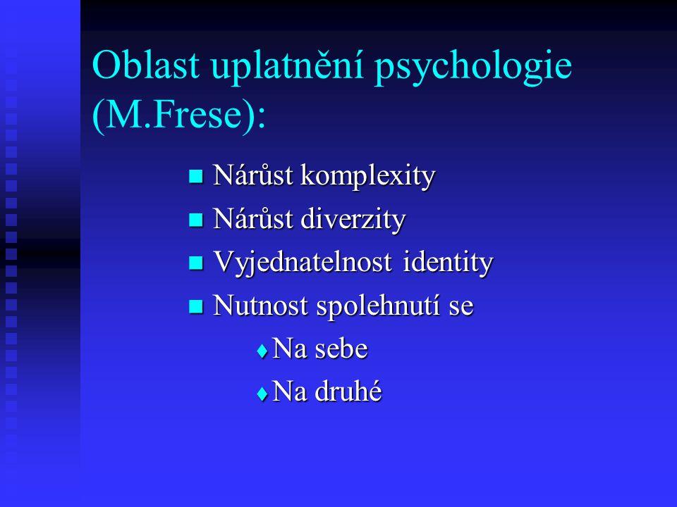 Oblast uplatnění psychologie (M.Frese): Nárůst komplexity Nárůst komplexity Nárůst diverzity Nárůst diverzity Vyjednatelnost identity Vyjednatelnost identity Nutnost spolehnutí se Nutnost spolehnutí se  Na sebe  Na druhé