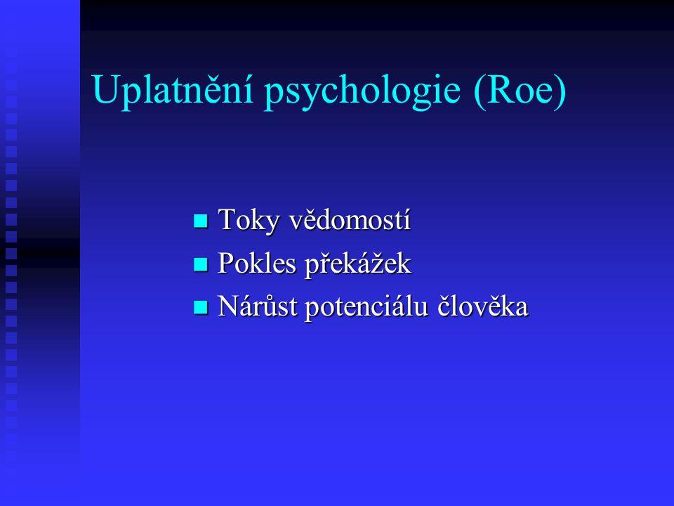 Uplatnění psychologie (Roe) Toky vědomostí Toky vědomostí Pokles překážek Pokles překážek Nárůst potenciálu člověka Nárůst potenciálu člověka