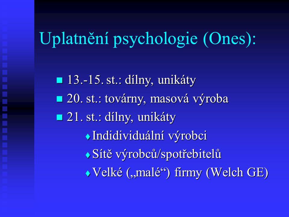 Uplatnění psychologie (Ones): 13.-15. st.: dílny, unikáty 13.-15. st.: dílny, unikáty 20. st.: továrny, masová výroba 20. st.: továrny, masová výroba