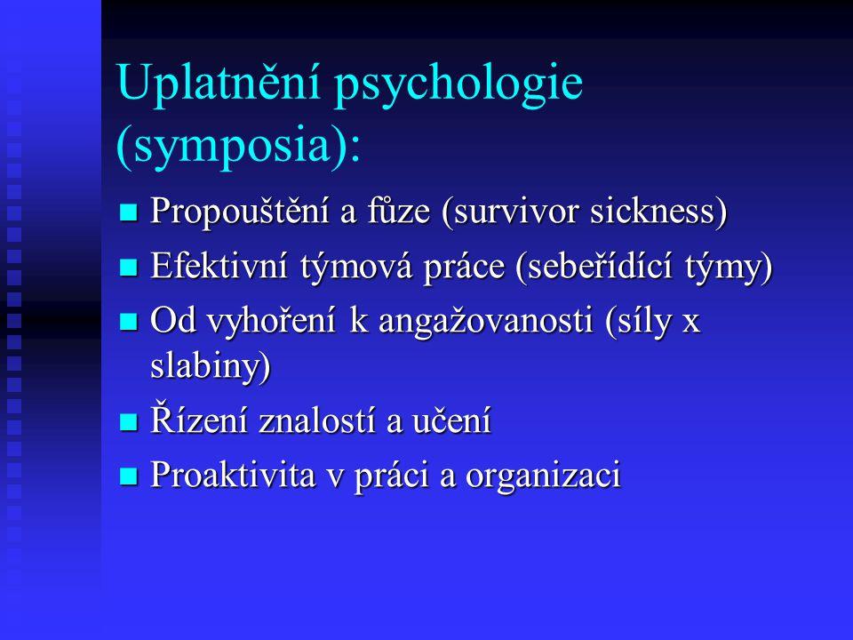 Uplatnění psychologie (symposia): Propouštění a fůze (survivor sickness) Propouštění a fůze (survivor sickness) Efektivní týmová práce (sebeřídící týmy) Efektivní týmová práce (sebeřídící týmy) Od vyhoření k angažovanosti (síly x slabiny) Od vyhoření k angažovanosti (síly x slabiny) Řízení znalostí a učení Řízení znalostí a učení Proaktivita v práci a organizaci Proaktivita v práci a organizaci