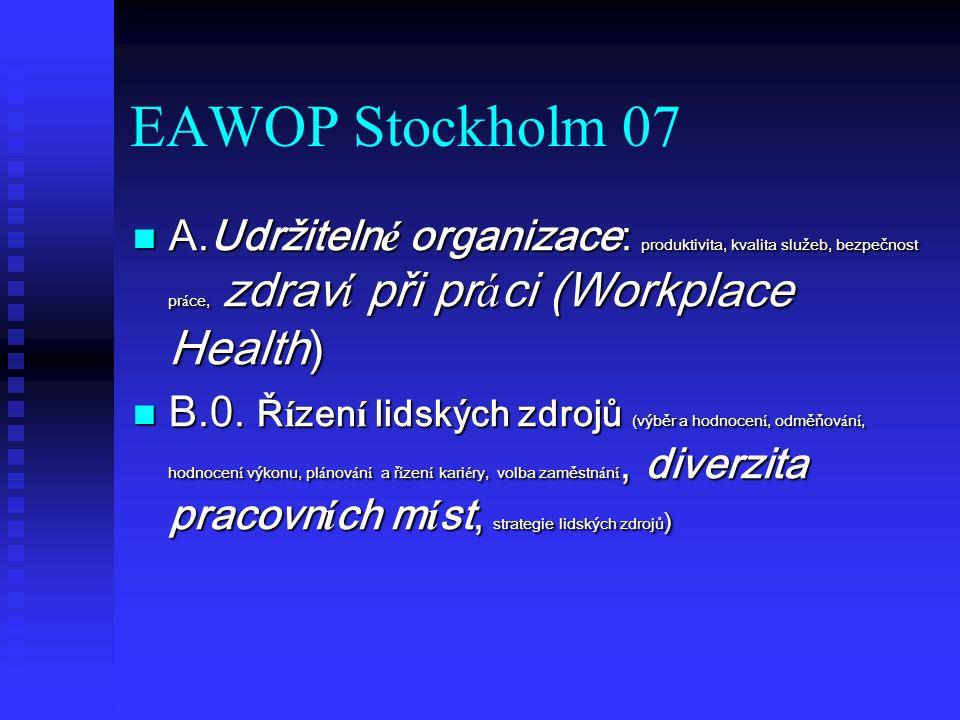 EAWOP Stockholm 07 A.Udržiteln é organizace: produktivita, kvalita služeb, bezpečnost pr á ce, zdrav í při pr á ci (Workplace Health) A.Udržiteln é organizace: produktivita, kvalita služeb, bezpečnost pr á ce, zdrav í při pr á ci (Workplace Health) B.0.