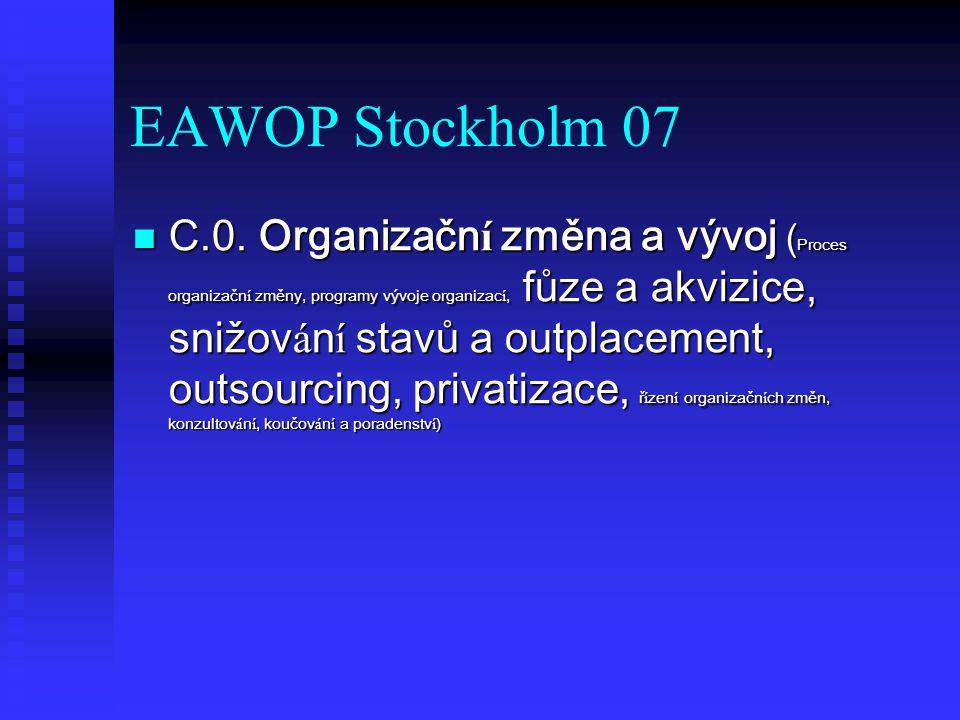 EAWOP Stockholm 07 C.0. Organizačn í změna a vývoj ( Proces organizačn í změny, programy vývoje organizac í, fůze a akvizice, snižov á n í stavů a out
