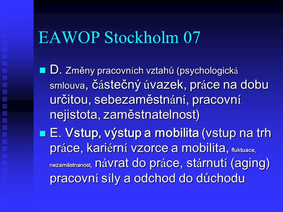 EAWOP Stockholm 07 D. Změny pracovn í ch vztahů (psychologick á smlouva, č á stečný ú vazek, pr á ce na dobu určitou, sebezaměstn á n í, pracovn í nej