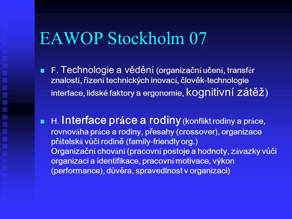 EAWOP Stockholm 07 F. Technologie a věděn í (organizačn í učen í, transf é r znalost í, ř í zen í technických inovac í, člověk-technologie interface,