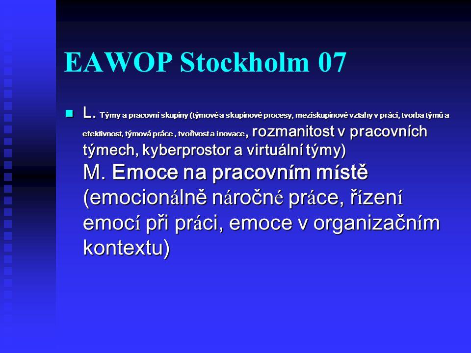 EAWOP Stockholm 07 L. Týmy a pracovní skupiny (týmové a skupinové procesy, meziskupinové vztahy v práci, tvorba týmů a efektivnost, týmová práce, tvoř