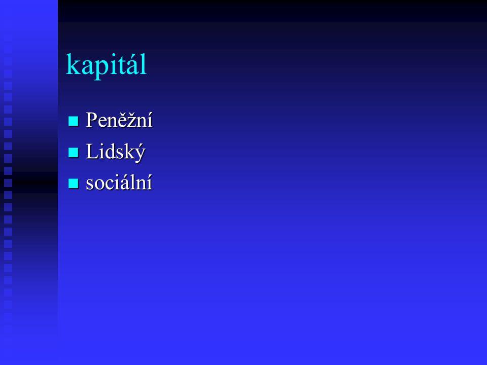 kapitál Peněžní Peněžní Lidský Lidský sociální sociální