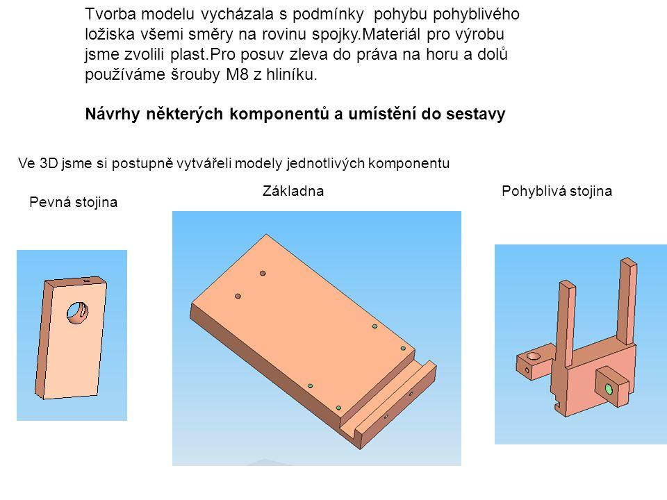 Tvorba modelu vycházala s podmínky pohybu pohyblivého ložiska všemi směry na rovinu spojky.Materiál pro výrobu jsme zvolili plast.Pro posuv zleva do p
