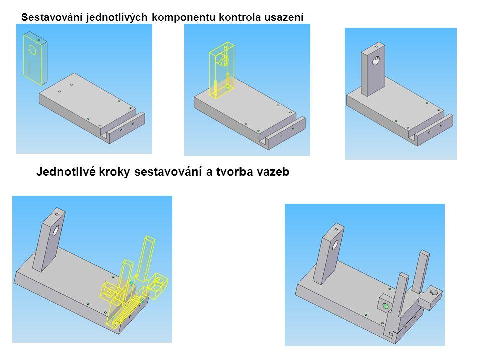 Sestavování jednotlivých komponentu kontrola usazení Jednotlivé kroky sestavování a tvorba vazeb