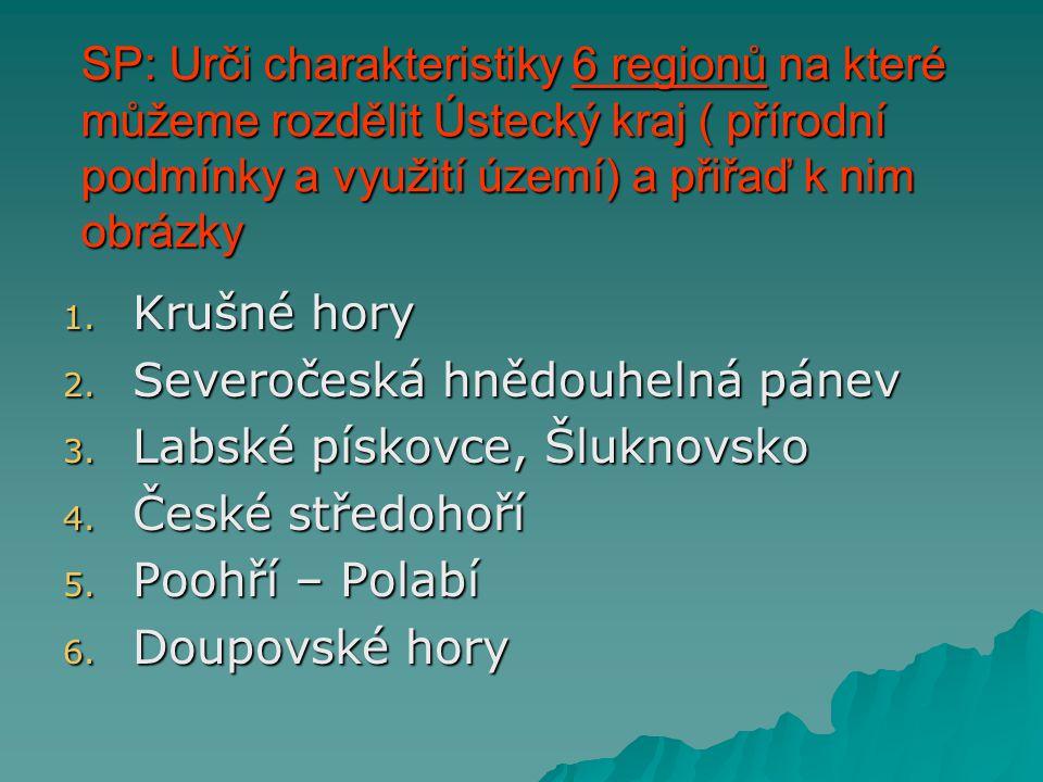 SP: Urči charakteristiky 6 regionů na které můžeme rozdělit Ústecký kraj ( přírodní podmínky a využití území) a přiřaď k nim obrázky 1. Krušné hory 2.