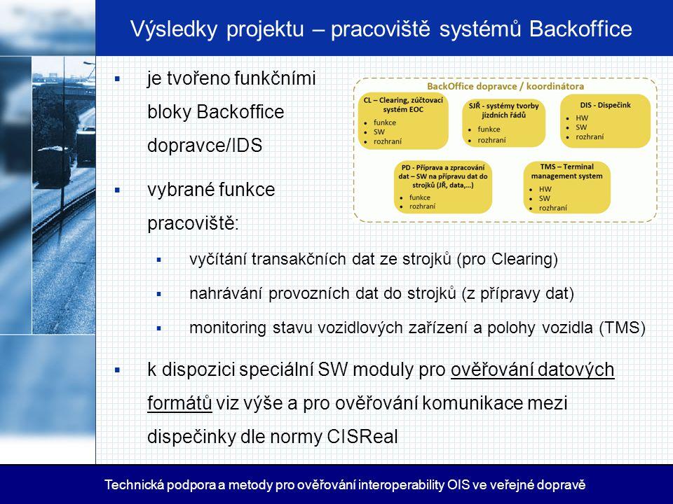Výsledky projektu – pracoviště systémů Backoffice  je tvořeno funkčními bloky Backoffice dopravce/IDS  vybrané funkce pracoviště:  vyčítání transak
