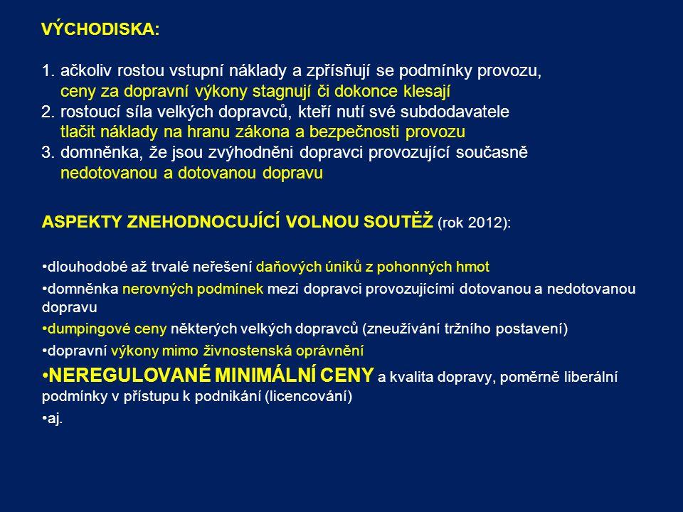NEZAPOČÍTÁVANÉ ČI JINAK ŘEŠENÉ NÁKLADY: mýto – v Libereckém kraj nejsou dálnice silniční daň – vozidla linkové dopravy jsou od ní osvobozena poplatky za vjezdy na nádraží – nebyly součástí nákladů, protože tyto si bude řešit s provozovateli autobusových nádraží sám kraj náklady na správu a provoz IDS - jejich výše byla stanovena fixní částkou a započtena přímo v podmínkách zadávací dokumentace