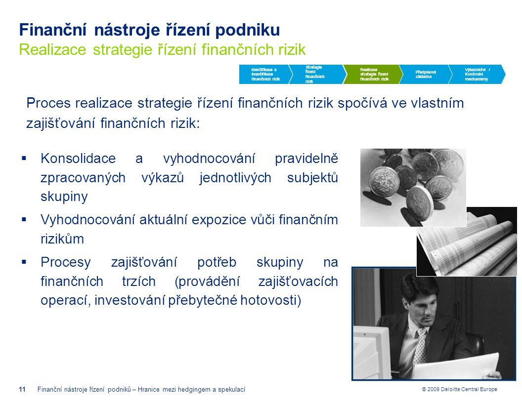 © 2009 Deloitte Central Europe Finanční nástroje řízení podniku Realizace strategie řízení finančních rizik 11Finanční nástroje řízení podniků – Hrani