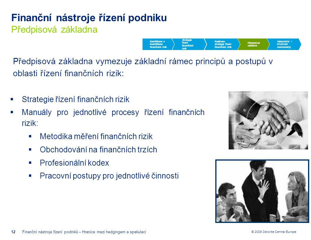 © 2009 Deloitte Central Europe Finanční nástroje řízení podniku Předpisová základna 12Finanční nástroje řízení podniků – Hranice mezi hedgingem a spek