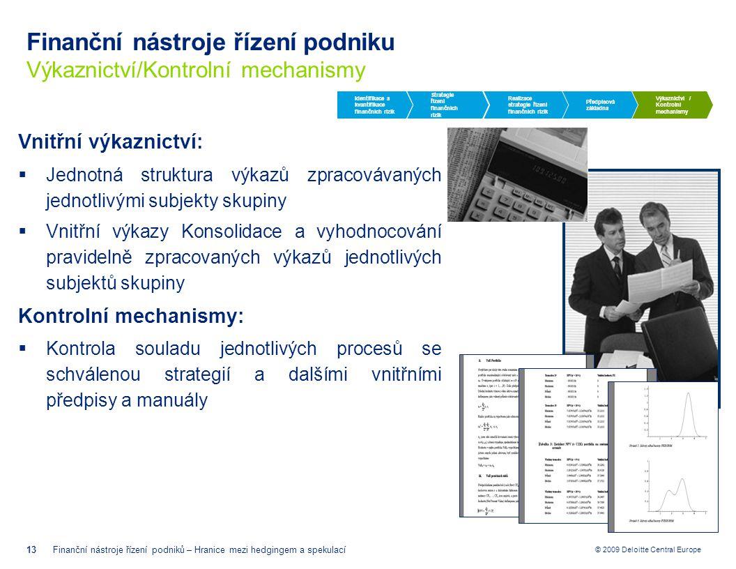 © 2009 Deloitte Central Europe Finanční nástroje řízení podniku Výkaznictví/Kontrolní mechanismy 13Finanční nástroje řízení podniků – Hranice mezi hed