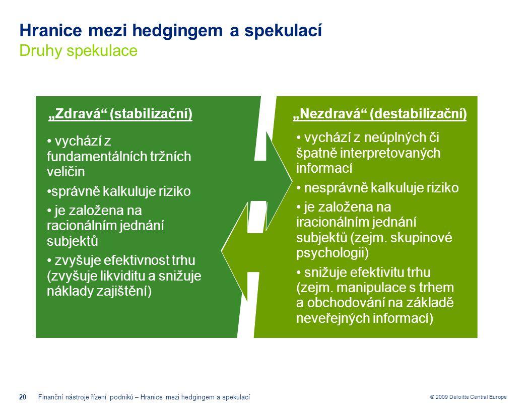 © 2009 Deloitte Central Europe Hranice mezi hedgingem a spekulací Druhy spekulace 20Finanční nástroje řízení podniků – Hranice mezi hedgingem a spekul