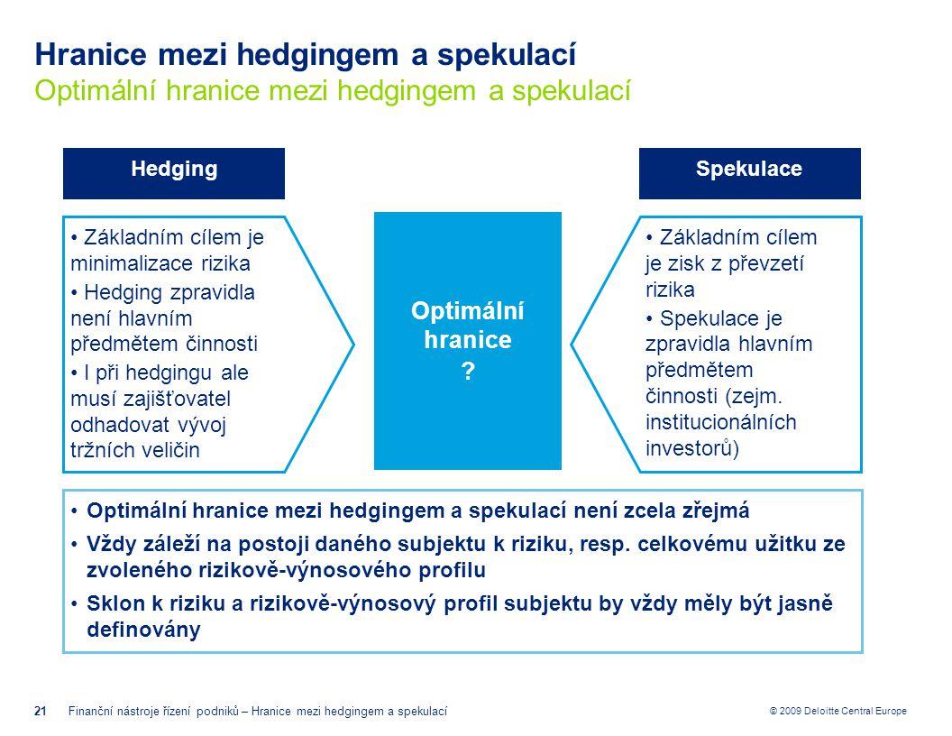 © 2009 Deloitte Central Europe Hranice mezi hedgingem a spekulací Optimální hranice mezi hedgingem a spekulací 21Finanční nástroje řízení podniků – Hr
