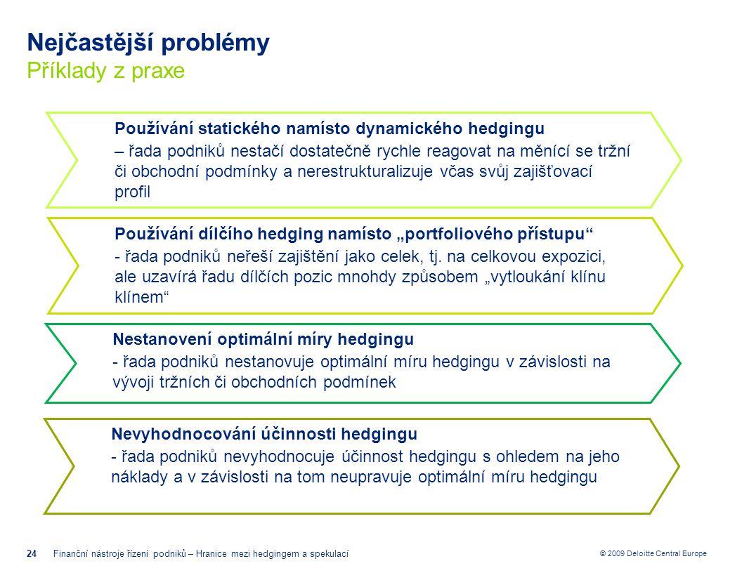 © 2009 Deloitte Central Europe Nejčastější problémy Příklady z praxe 24Finanční nástroje řízení podniků – Hranice mezi hedgingem a spekulací Používání