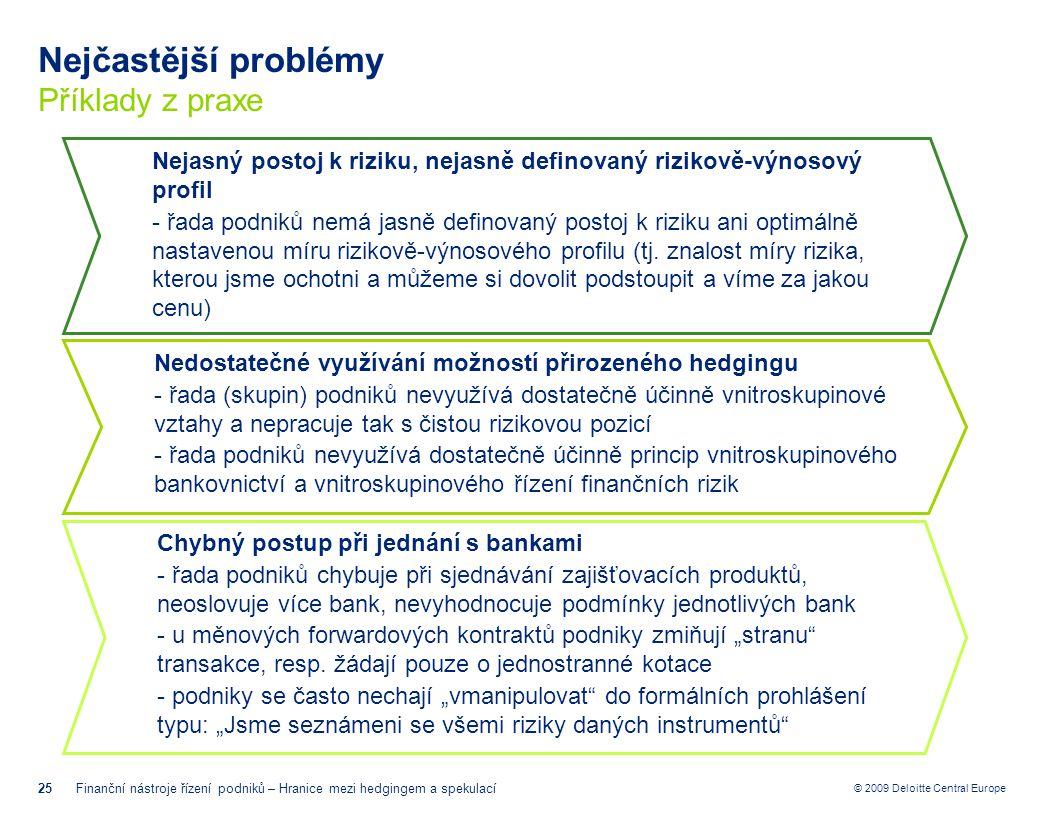 © 2009 Deloitte Central Europe Nejčastější problémy Příklady z praxe 25Finanční nástroje řízení podniků – Hranice mezi hedgingem a spekulací Nedostate