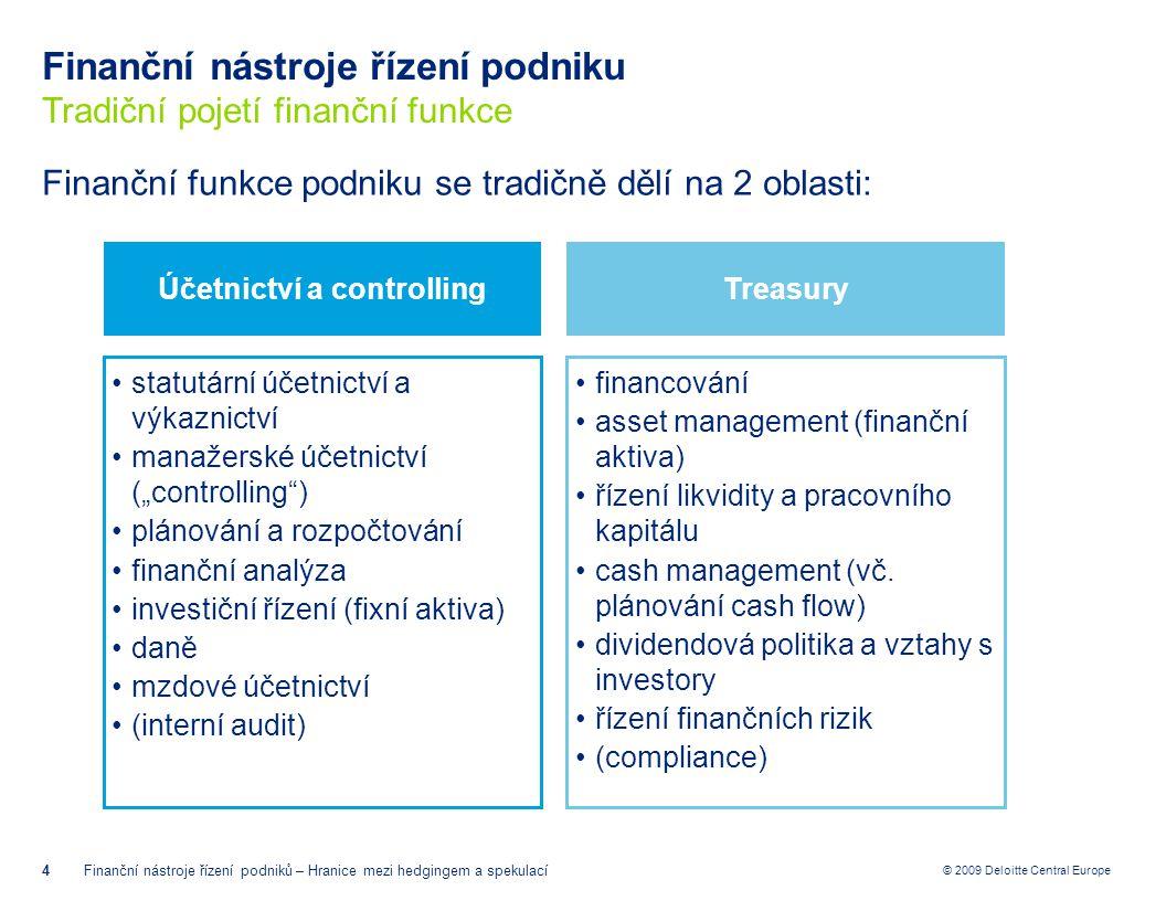 """© 2009 Deloitte Central Europe Hranice mezi hedgingem a spekulací Hedging, spekulace, arbitráž 15Finanční nástroje řízení podniků – Hranice mezi hedgingem a spekulací = Vytvoření určité pozice v aktivech (pohledávkách) či závazcích (ať už podmíněných či nepodmíněných) umožňující stabilizovat výkyvy hodnoty podkladových aktiv či závazků Cílem hedgingu je eliminace konkrétního typu rizika Hedger je rizikově averzní a platí za zbavení se rizika Hedging obvykle vede k dodání podkladového aktiva Hedging = Vytvoření určité pozice v aktivech (pohledávkách) či závazcích (ať už podmíněných či nepodmíněných) umožňující profitovat z nestabilního vývoje hodnoty těchto aktiv či závazků Cílem spekulace je zisk z podstoupení konkrétního typu rizika Spekulant je rizikově neutrální nebo má sklon k riziku a je placen za jeho podstoupení/vyhledávání Spekulant se nezajímá tolik o dodání podkladového aktiva, jako o spekulativní zisk Spekulanti pomáhají utvářet likviditu a snižovat náklady zajištění (tržní spread) Spekulace = Vytvoření určité pozice v aktivech (pohledávkách) či závazcích (ať už podmíněných či nepodmíněných) umožňující téměř """"bezrizikově profitovat z """"nesprávně oceněných aktiv či závazků na různých trzích (promptních i termínových) Arbitráž rovněž přispívá k efektivitě finančních trhů, tj."""